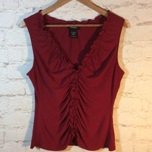 EXPRESS BRICK RED PLEATED BLOUSE